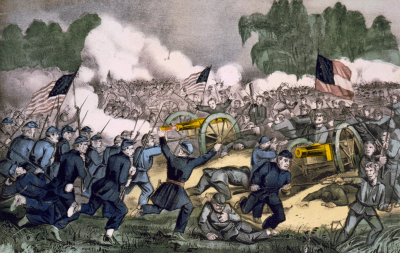 An artist's impression of the Battle of Gettysberg