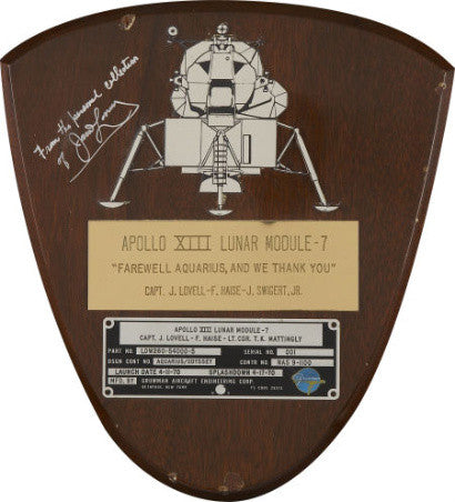 Apollo 13's lunar module spacecraft identification plate ($47,800)