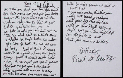 The lyrics to 1983's Beat It ($60,000)