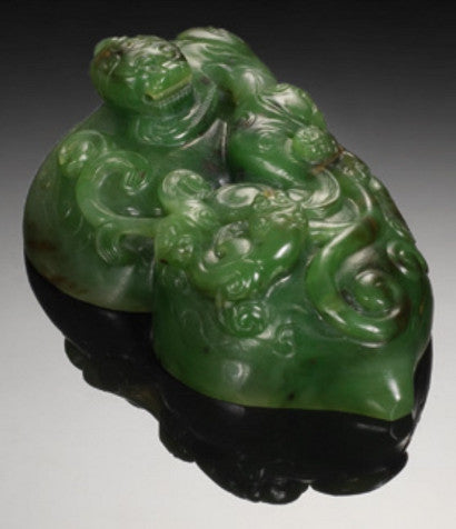 Imperial spinach green jade double-gourd San Xi Tang seal410.jpg