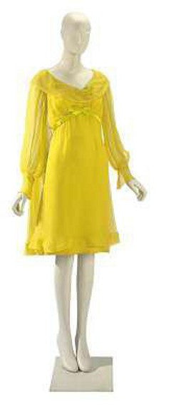 Elizabeth Taylor Irene Sharaff Sunflower Yellow Silk Chiffon Wedding Dress