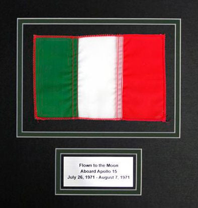 Italian flag flown to the moon signed Al Worden