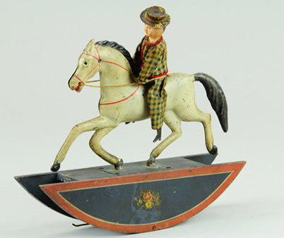 Ives cloth dressed man tin rocking horse toy