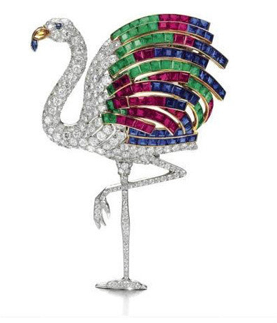 Wallis Simpson's Jewelled flamingo clip