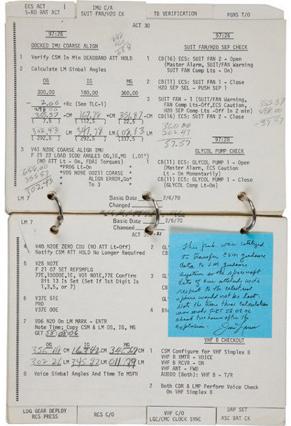 Apollo 13 notebook featuring calculations by Jim Lovell
