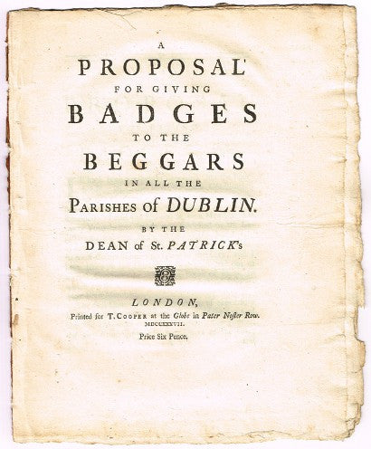 Jonathan Swift Proposal for giving badges to beggars