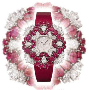 Lady's white gold diamond ruby set quartz watch