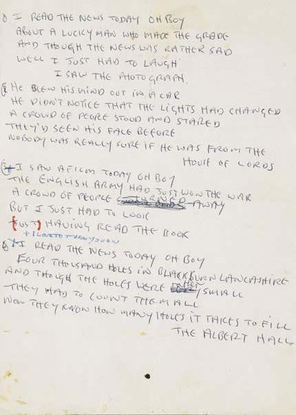 Beatles John Lennon lyrics for <BR> A Day in the Life