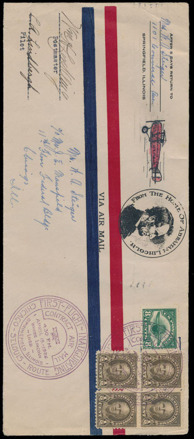 Lindbergh signed first flight cover