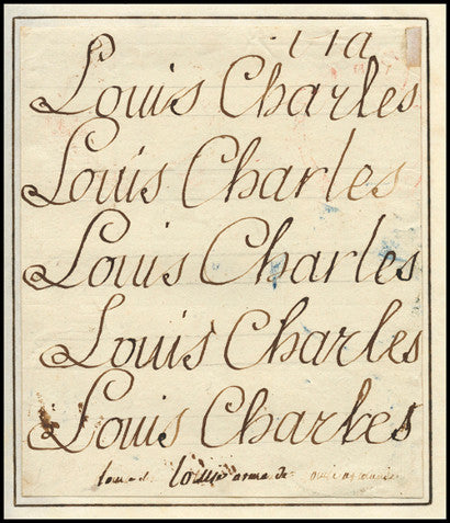Lost Dauphin Prince Louis Charles XVII autograph