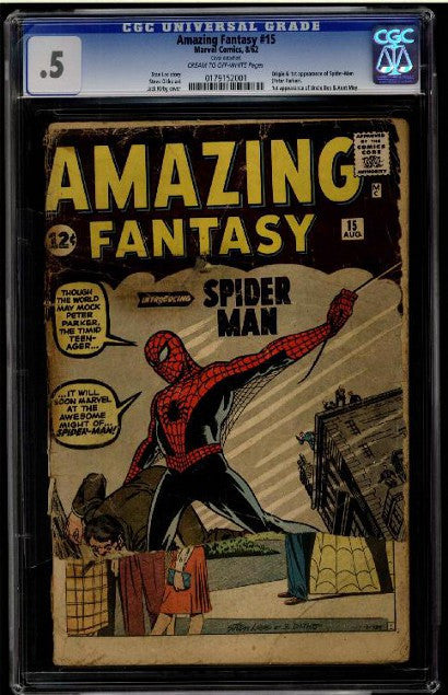 Low quality Amazing Fantasy 15 comic book Spiderman