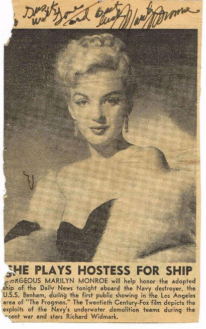 Marilyn Monroe autograph newspaper clipping