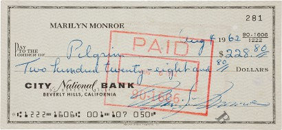 Marilyn Monroe's last ever signed cheque