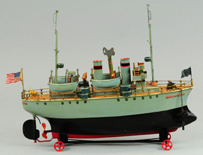 Marklin Avalanche tinplate clockwork gunboat toy