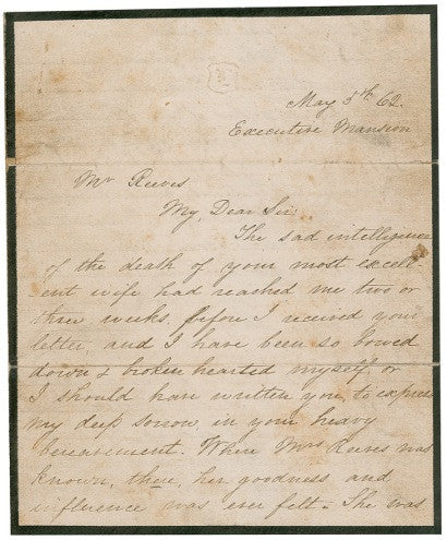 Mary Todd Lincoln autograph letter Hester Reeves