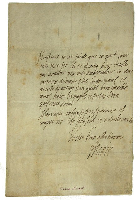 Letter written by Mary, Queen of Scots