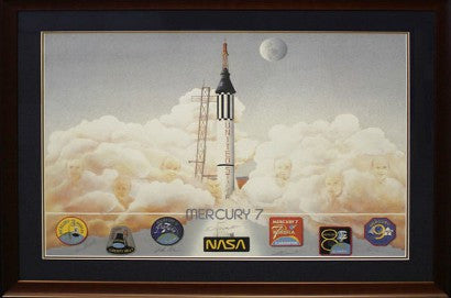 Mercury 7 art print signed Astronaut Scholarship Foundation auction