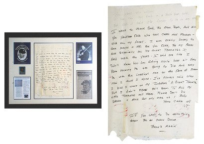 Mickey Mantle deathbed speech notes