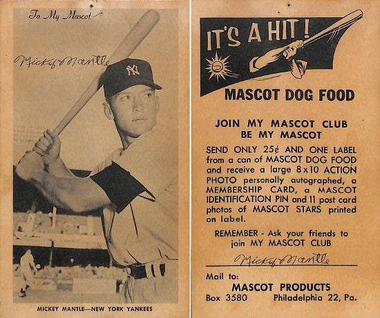 Mickey Mantle Dog Food Baseball Card Auctions For 24000