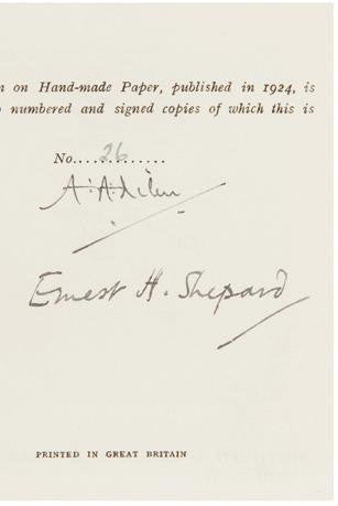A A Milne and E H Shepard autographs
