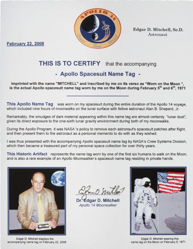 Apollo 14's Edgar Mitchell certification of nametag