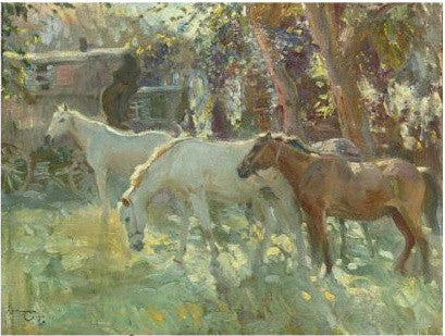 Horses and Gypsy Caravans Alfred Munnings