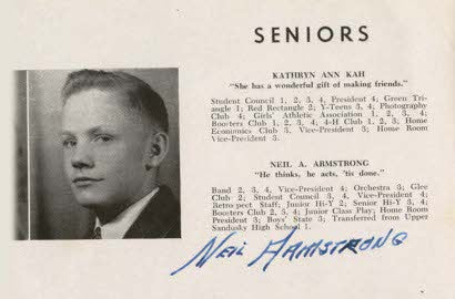 Neil Armstrong signed yearbook