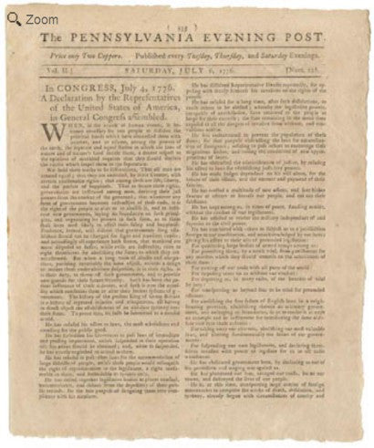 Newspaper Declaration of Independence