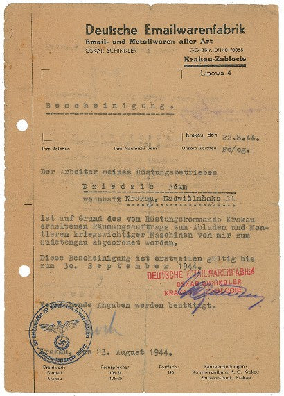 Oskar Schindler signed document