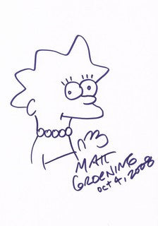 Lisa Simpson signed drawing