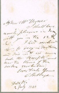 Charles Babbage, personal letter