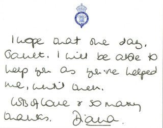 Note from Diana, with signature