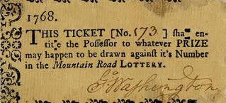 George Washington, signed lottery ticket