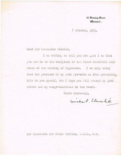 Winston Churchill, letter to Air Commodore Whittle