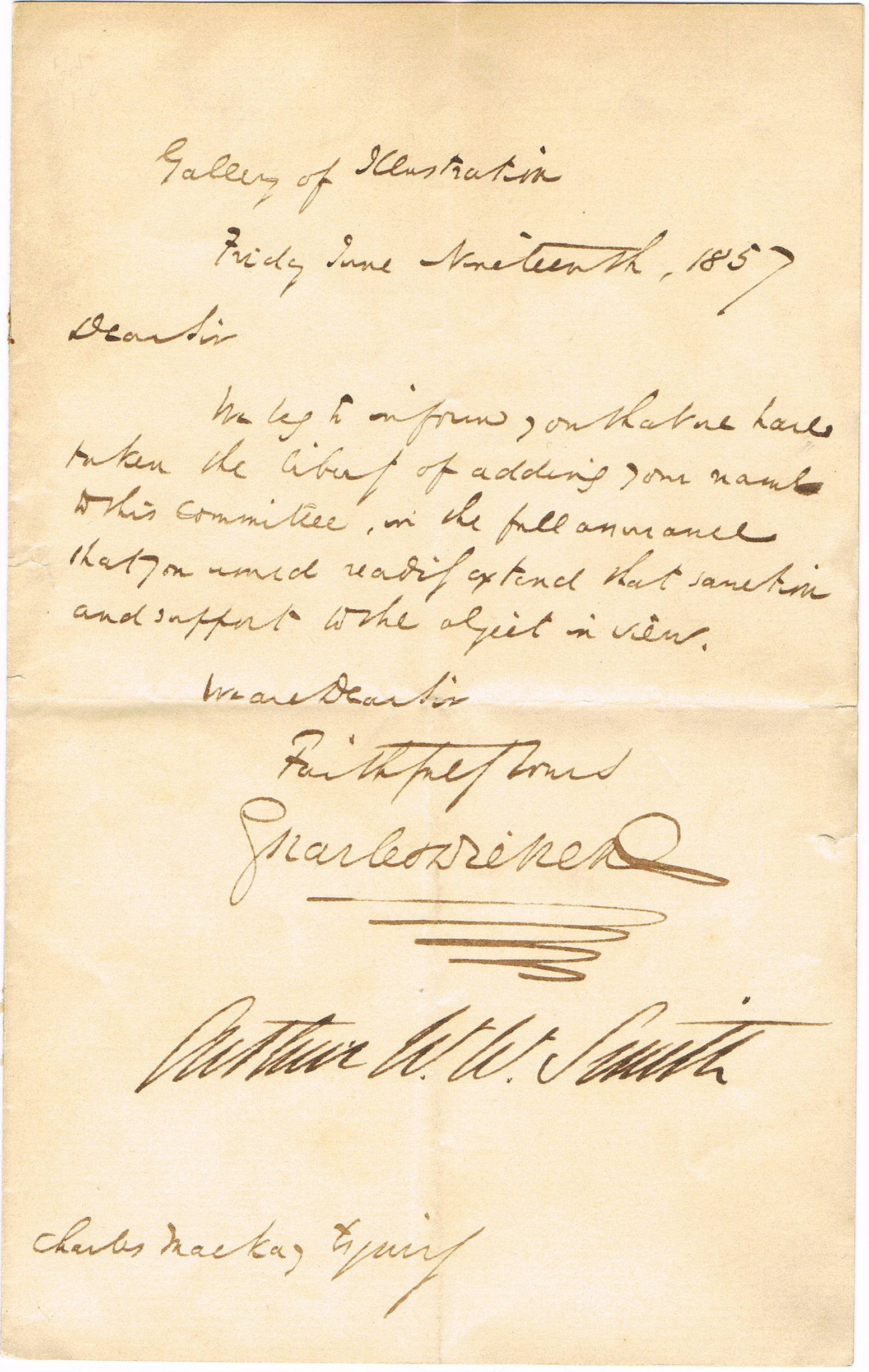 Charles Dickens autographed note