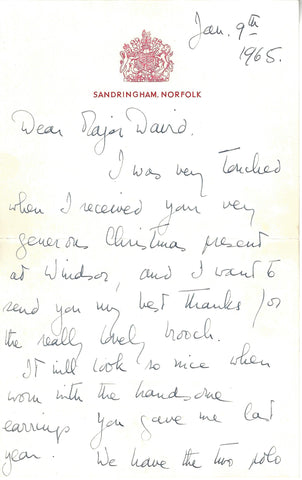 Rare Queen Elizabeth handwritten letter. Auction Estimate £500. Sold by Paul Fraser Collectibles Private Treaty for £2,200. Netting our client a 312.5% increase on the Auction Estimate.