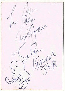 John Lennon autograph and drawing