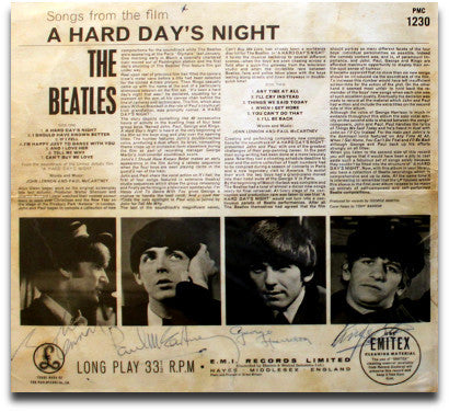 Bealtes signed A Hard Day's Night