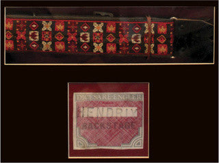 Jimi Hendrix, detail of guitar strap and backstage pass