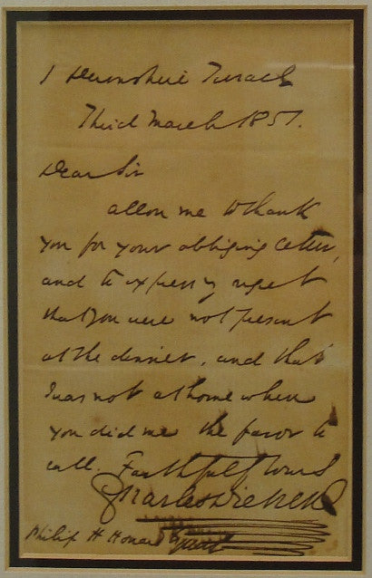 handwritten note by charles dickens