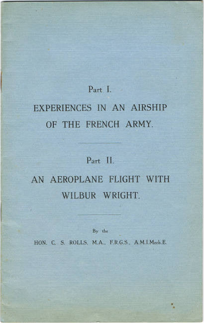An aeroplane flight with Wilbur Wright charles rolls