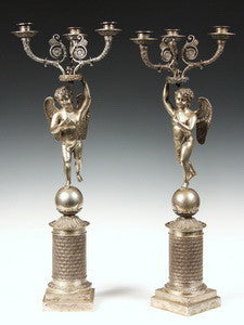 Pair of Faberge silver candelabra