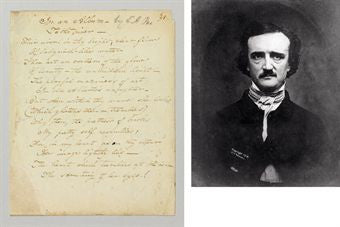 Edgar Allen Poe Two Poems autograph
