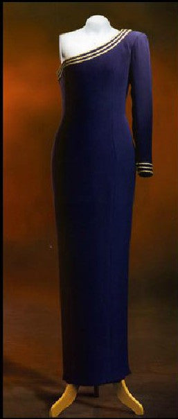 Catherine Walker dress of blue silk crepe Princess Diana