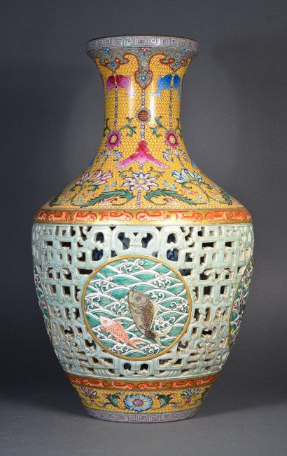 Qing Period Reticulated Vase with Carp medallion and Qianlong mark
