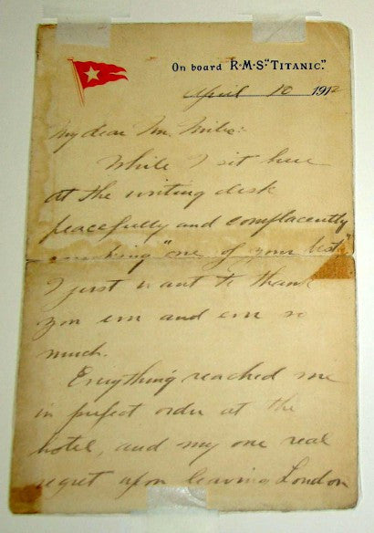 RMS Titanic Snyder letter
