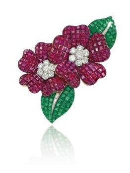 Ruby, emerald and diamond Deux Fleurs clip brooch by Van Cleef and Arpels