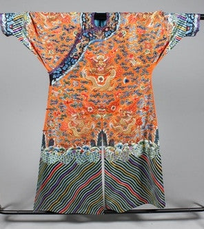 Rare Chinese Imperial orange dragon robe