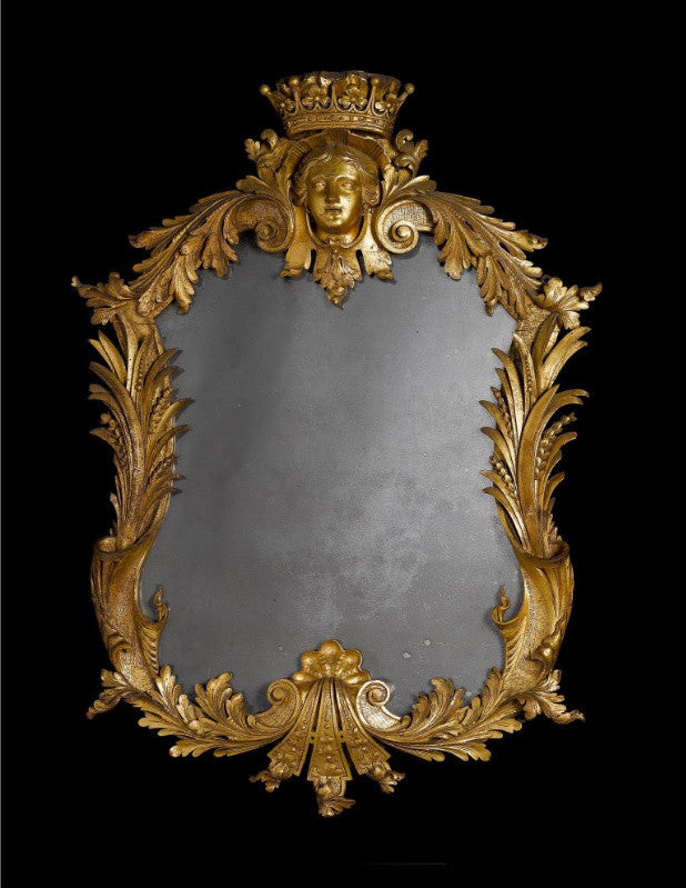 Rare antique pair of George II carved giltwood mirrors