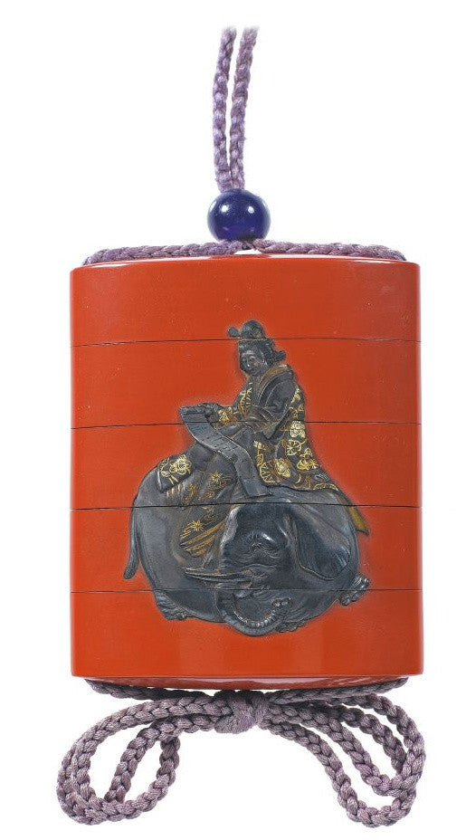 Red lacquer inro with Fugen Bosatsu on an elephant